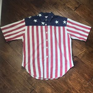 Vintage Made in USA flag button-up